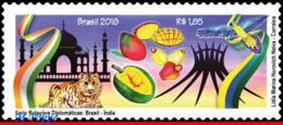 Ref. BR-V2018-07-1 BRAZIL 2018 RELATIONSHIP, WITH INDIA, ARCHITECTURE,, TIGER, BIRDS, FRUITS, MNH 1V - Brasilien