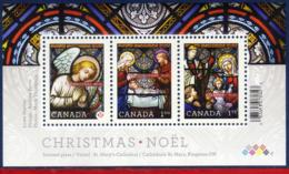 Ref. CA-V2011-1 CANADA 2011 CHRISTMAS, RELIGION - STAINED GLASS, SOUVENIR SHEET MINT MNH 3V - 1952-.... Règne D'Elizabeth II
