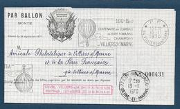 Lettre Par Ballon Monté De Villiers S/M  à Lizy S/Ourcq  1970 - Marcophilie (Lettres)