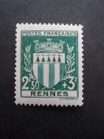 FRANCE Armoirie De Rennes N°534 Neuf ** - 1941-66 Armoiries Et Blasons