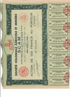 PARIS Société Agricole Coloniale SCAM Azioni Portatore 18 CEDOLE Doc.288 - Azioni & Titoli