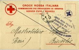 CROCE ROSSA ITALIANA Prigionieri Di Guerra Ricevuta Abbonamento Pane  Franchigia Da Bologna Per Bisceglie  Croix Rouge - Croce Rossa