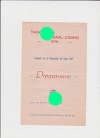 SPA 1942 Théâtre Du Kursaal Casino - Programs