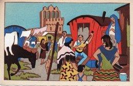 93Maj   Illustrateur Campement De Gitans Pour Le Pelerinage Annuel Aux Saintes Maries De La Mer - Illustratori & Fotografie