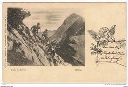 ABSTIEG:   HANDGEMALTE  BILDER  -  KLEINFORMAT - Alpinismus, Bergsteigen