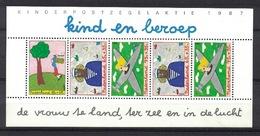 Nederland Pay Bas Olanda Netherlands 1987, Kinderzegels Child Welfare Profession Plane **, MNH, S/S - Periode 1980-... (Beatrix)