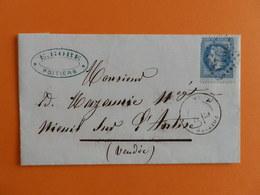 EMPIRE LAURE 29 SUR LETTRE DE POITIERS DU 17 NOVEMBRE 1868 (GROS CHIFFRE 2915) - Marcophilie (Lettres)
