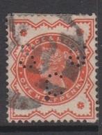 Great Britain SG 197 1887 Half Penny Vermillion Perfin, Used - 1840-1901 (Victoria)