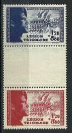 """FR YT 566a """" Pour La Légion Tricolore, Paire Intervalle En Relief """" 1942 Neuf** - France"""