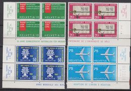 Switzerland 1960 Commemoratives 4v Bl Of 4 (corners) ** Mn (42440G) - Zwitserland