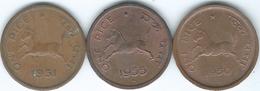 India - 1 Pice - 1950 - Calcutta (KM1.2) 1951 - Calcutta (KM1.3) 1955 - Bombay (KM1.4) - India