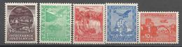 YU 1934-278-81 AIR PLANE, YUGOSLAVIA, 1 X 5v, MH - Neufs