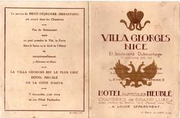 Villa Georges Nice - Hotel Meublé - Bristol Ouvrant - Fermé : 16 Cm X 12,5 - Ancienne Résidence épouse Tsar Alexandre II - Publicités
