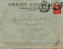 Crédit Lyonnais Toulouse - Perforé CL Inversée Sur Semeuse - 2 Scans - Perforés