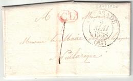 1833 - GRIFFE CL ROUGE De CORRESPONDANCE LOCALE Sur LETTRE LAC De ST CIRQ (LOT) Pour PUYLAROQUE (TARN) CAD De CAUSSADE - 1849-1876: Klassieke Periode