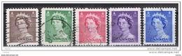 CANADA:  1953  ELISABETTA  II°  -  S. CPL. 5  VAL. US. -  YV/TELL. 260/64 - 1952-.... Regno Di Elizabeth II