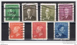 CANADA:  1949/51  GIORGIO  VI°  -  S. CPL. 7  VAL. US  -  YV/TELL. 236/40 - 1937-1952 Regno Di George VI
