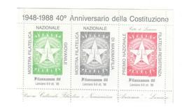 Erinnofilo Mostra 40° Ann. Costituzione  1988 Nuovo Cod.fra.1189 - 1981-90: Oblitérés