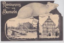 RATTENTFÄNGERGRUSS AUS HAMELN - WESERBRÜCKE - ANIMAL RAT EN DECOUPIS - Hameln (Pyrmont)