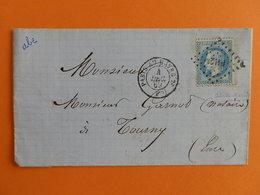 EMPIRE LAURE 29 SUR LETTRE DE PARIS A TOURNY DU 4 DECEMBRE 1869 (AMBULANT PH2°) - Postmark Collection (Covers)