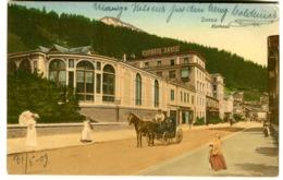 DAVOS Kurhaus Farblitho 1909 Mit Leben Und Pferdekutsche Attelage Stempel Schatzalp-Davos - GR Grisons