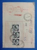 1988 AFFRANCATURA MECCANICA ROSSA EMA RED SU BOLLETTINO PACCHI BARI VIA NAPOLI RACCOMANDATA ASSEGNO - Machine Stamps (ATM)