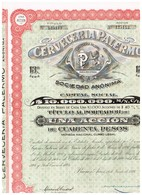 Titre Ancien - Cerveceria Palermo Sociedad Anónima - Titulo De 1926 - N°125113 - Industrie