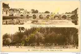 18.  VIERZON . Pont Du Canal . Plage Sur Le Plage .  CPA Double Vue . - Vierzon