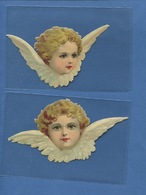 Deux Beaux Chromo Decoupis Ange Angelot TETE AILES 14 Cm Envergure - Angeles