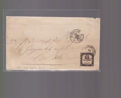 Lettre  1865 Marseille  Avec Timbre Taxe 15 Centimes à Percevoir Pour Julienbaille - Postmark Collection (Covers)