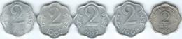 India - 2 Paise - 1964 (KM12); 1967 - (KM13.1) & 1968  - Bombay (KM13.5) 1975 - Hyderabad (KM13.6) - 1977 - (KM13.4) - Inde