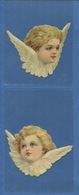 Deux Beaux Chromo Decoupis Ange Angelot TETE AILES 10 Cm Envergure - Angeles