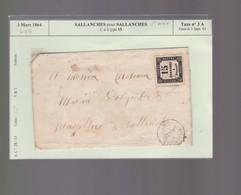 Lettre  1864    Sallanches Pour Sallanches  Avec Timbre Taxe  N °  3  : Offre Pour Julienbaille - 1849-1876: Période Classique