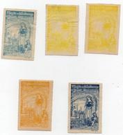 Erinnophilie Vignette 1er Congrès De Collectionneurs De Timbres Commémoratifs L'Arc En Ciel Villerupt 1912 (5 Vignettes) - Erinnophilie