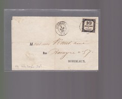 Lettre  1860 :   Bordeaux   Avec Timbre Taxe 10 Centimes à Percevoir Offre Pour ( Julienbaille) - Postmark Collection (Covers)