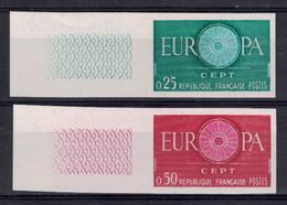 """LOT TIMBRES FRANCE NON DENTELES """"EUROPA"""" N°1266 1267 NEUF ** LUXE BORD DE FEUILLE (1960) - Frankreich"""