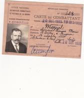 Carte D'ancien Combattant 1938 - Vieux Papiers