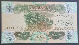 HX - Iraq 1979 Swiss Printed Banknote: 1/4 Dinar UNC P67 - Watmk HORSE - Iraq