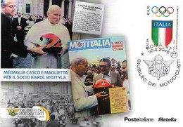 Cartolina Post Card Postal GIUBILEO DEI MOTOCICLISTI MOTO SOCIO KAROL WOJTYLA 2016 + ANNULLO - Christentum