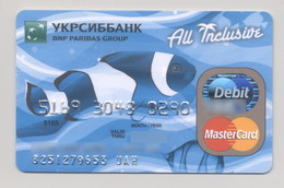 Credit Card Fauna Fish Bankcard Ukrsibbank UKRAINE MasterCard Expired - Geldkarten (Ablauf Min. 10 Jahre)