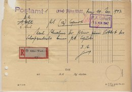 All.Bes. - Ahlen 1947 Schriftstück Postamt Ahlen - PSchA Dortmund M. R-Zettel - Zone AAS