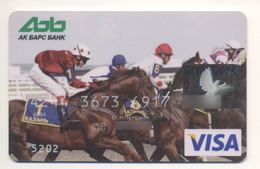 Credit Card Sport Horse Racing Fauna Horses Bankcard AK BARS Bank RUSSIA VISA Expired - Carte Di Credito (scadenza Min. 10 Anni)