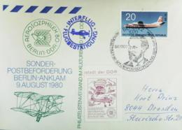 DDR: Brief Sonderpostbeförderung Mit Bl. INTERFLUG-Best.St. Berlin-Anklam 1980 Mit SoSt. Und Cachet, Berlin 9.8.1980 - Post