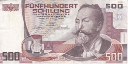BILLETE DE AUSTRIA DE 500 SCHILLING DEL AÑO 1985 (BANKNOTE-BANK NOTE) - Austria