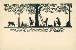 Scherenschnitt/Schattenschnitt-Ansichtskarten Künstlerkarte September 1922 - Scherenschnitt - Silhouette