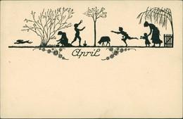Ansichtskarte  Scherenschnitt/Schattenschnitt-Ansichtskarten April 1922  - Scherenschnitt - Silhouette