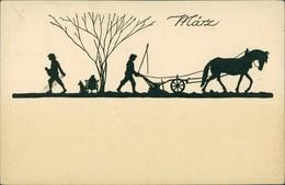 Scherenschnitt/Schattenschnitt-Ansichtskarten Künstlerkarte März 1922 - Scherenschnitt - Silhouette
