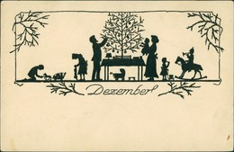 Scherenschnitt/Schattenschnitt-Ansichtskarten Künstlerkarte Dezember 1922 - Scherenschnitt - Silhouette