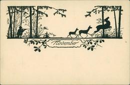 Scherenschnitt/Schattenschnitt-Ansichtskarten Künstlerkarte November 1922 - Scherenschnitt - Silhouette