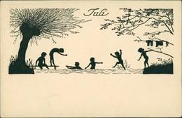 Scherenschnitt/Schattenschnitt-Ansichtskarten Künstlerkarte Juli 1922 - Scherenschnitt - Silhouette